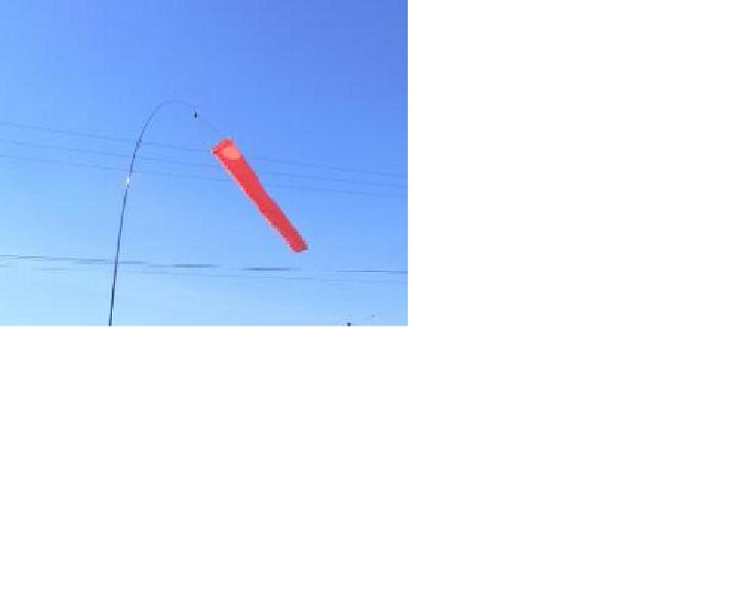 "5' x 12"" (1.5Mx30cm) orange aviation windsock. 5mph calibrated"